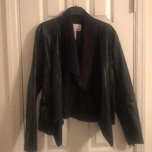 Faux leather BAR III jacket with suede collar